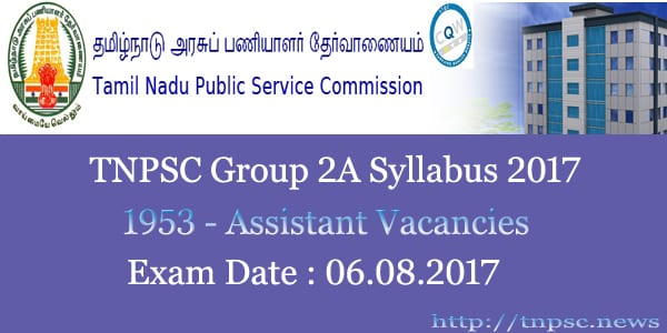 TNPSC Group 2A Syllabus 2017