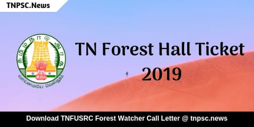 TNFUSRC Hall Ticket 2019